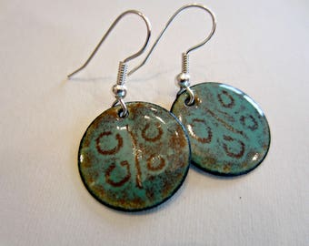 Copper Enamel Hanging Disc Earrings Blue and Brown Primative Design