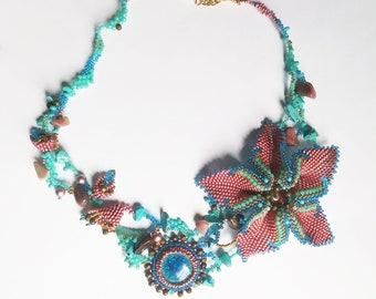 Secret Garden necklace/ beaded flowers necklace / fancy necklace