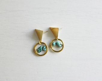 Bachue Earrings // Brass + Turquoise  + Handmade Jewelry + Boho