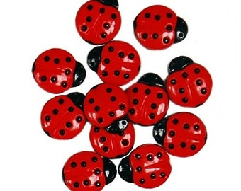 SET of 12 Red and Black Ladybug Sewing Button Collection Shank/ Hoop Buttons