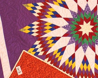 American Made Patchwork Mandala Star FINISHED QUILT - Fine Quilting