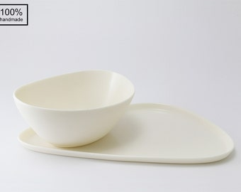 "The ""Ideal"" Porcelain Plate and Bowl - 100% Handmade"