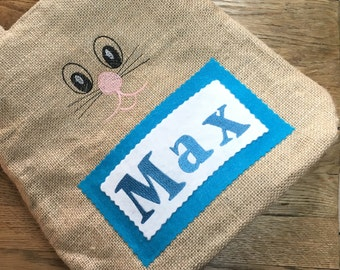Max Personalized Easter Basket - Burlap Bunny Bag - Easter Basket - Easter Bag - Easter Basket With Bunny Ears - Custom Easter Basket