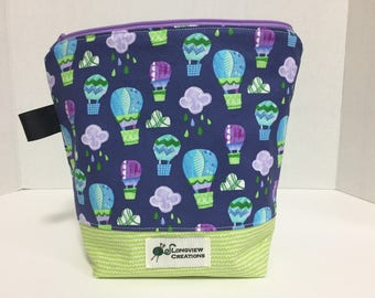 CLEARANCE 20%OFF, Wedge Bag, Knitting Project Bag, Zipper Bag, Sock Size, Hot Air Balloons