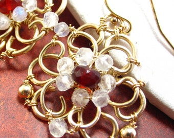 Cherry Snowflake Earrings - 14k Gold fill and Cherry Opal