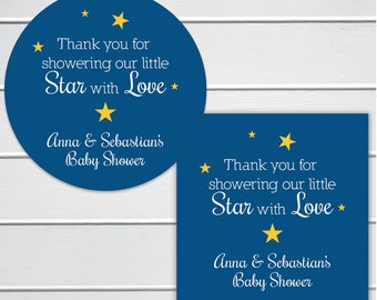 Thank you for showering our little Star with Love Baby Shower Stickers, Star Baby Shower Favor Labels, Twinkle Little Star (#182-2-SS)