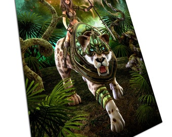 Lady Warrior Hunting with saber tooth tiger fantasy Animal Poster Print X1800