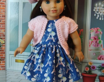 Eiffel Towers and Flowers Blue Dress with Pink Sweater and Beret for American Girl Doll Grace Thomas, Retro, and other 18 inch dolls