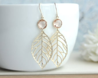 Peach Leaf Earrings. Light Peach, Champagne Blush Peach Gold Leaf Charm Dangle Earrings, Leaves Earring. Bridesmaid Gift. Peach Gold Wedding