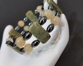African Turquoise and Hemetite Bracelet