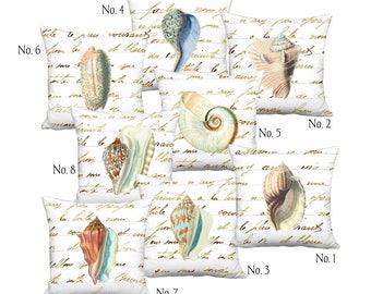 Sea Shells on Bronze Script Linen Cotton Pillow Coordinates - Pillow Cover - 16x16 18x18 20x20 22x22 24x24 26x26 28x28 Inch Cushion Cover