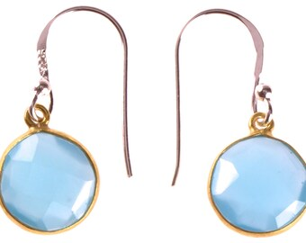 Silver earrings gold plated round stone calcite light blue faceted earrings 925 Sterling Silver (No. OSG-70)