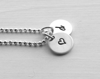 d Initial Necklace, Sterling Silver Jewelry, Letter d Necklace, Heart Necklace, Initial Necklace with Heart, Hand Stamped Jewelry, d, Heart