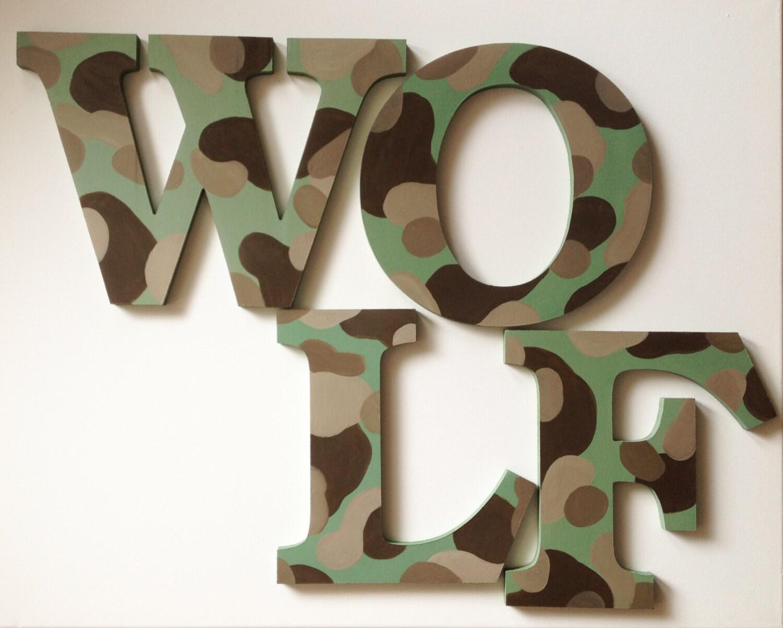 Letras del nombre de madera de la pared del camuflaje / juegan