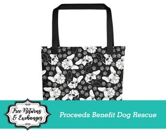 French Bulldog Tote Bag / Frenchie Beach Bag / Small Beach Bag / Carryall / Diaper Bag / Dog Mom / Dog Lover / Gift for Her / Love Dogs