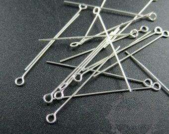 20pcs 0.5x30mm 24gauge solid 925 sterling silver loop pin 9 pin DIY jewelry supplies findings 1512011