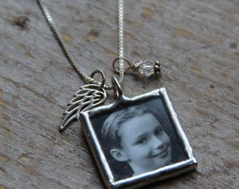 Angel Wing Custom Photo Necklace, Photo Charm, Memorial Photo Charm, Keepsake necklace, Angel Wing Necklace, Loss of Mother