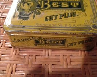 JD dill's best cut plug tobacco tin