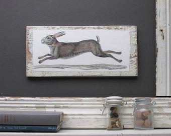 "home decor - ""Running Rabbit""- farmhouse - wall art"