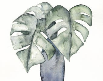 Original 8 x 10 inch watercolor painting of a botanical potted plant by Meredith O'Neal