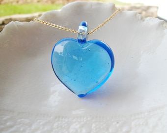 Blue Murano Heart Necklace