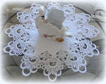 """16"""" Lace Doilies SET of 2 Decadent White Delicate Round"""