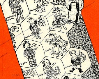 Vintage Hand Embroidery Quilt PATTERN PDF Instant Download File for Design 715 Dolls of the Nations Quilt taken from 1950s