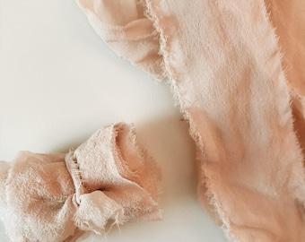 Soft Pink Hand Dyed Silk Chiffon Ribbon