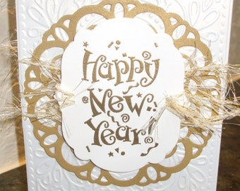 New Year's Card Happy Gold White