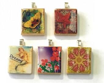 Set of 5 Scrabble Tile Pendants Set 6