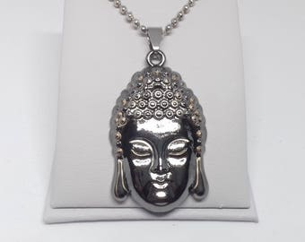 Buddha Necklace - buddha pendant - mens motorcycle - buddhist necklace - yoga necklace - stainless steel - mens buddha necklace - spiritual