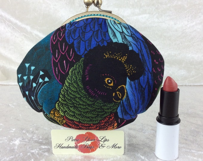 Handmade coin purse frame kiss clasp fabric change wallet pouch Alexander Henry Parrots Birds of a Feather
