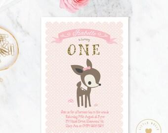 Deer Birthday Invitation / Girl Woodland Deer Invitation / Printable Birthday Invitation / Pink