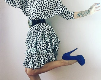 Vintage polka dot ruffle batwing party dress