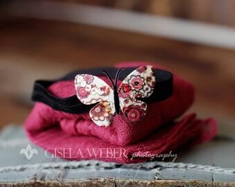 Butterfly Headband Baby Wrap SET / Newborn Prop, Newborn Cheesecloth, Newborn Wrap, Photography Prop, Baby Headband, Wine RED Cheesecloth