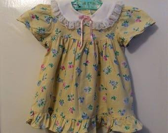Vintage Jo Lene Baby Girl Dress Sz 18/24M Yellow Flowers White Lace