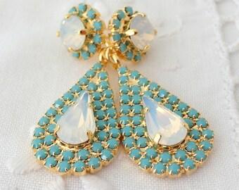 White opal and turquoise Chandelier earrings, Bridal earrings, 14k Gold, Dangle earrings, Drop earrings, Rhinestone earrings, bridesmaids