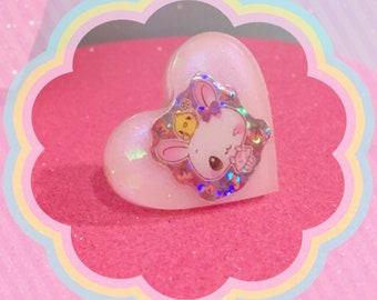 Kawaii Japanese Bunny Iridescent Heart Resin Ring