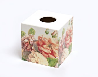 English Rose Tissue Box Cover Wooden Handmade perfect for mothers day