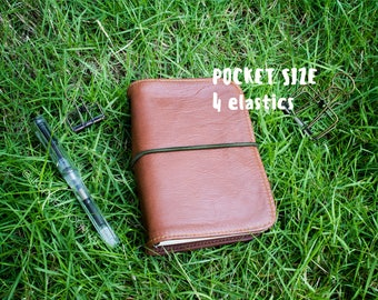 Moleskine Pocket / Field Notes real leather cover • travelers notebook 4 elastics • sketchbook mtn foxydori leather journal diary fauxdori