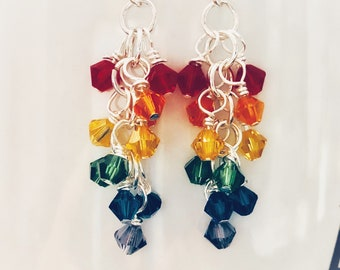 Rainbow Swarovski Crystal Cluster Beads Earrings