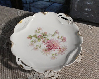 Shabby chic antique BRC Bauer Rosenthal & Co. Racine Bavaria handpainted signed dish chrysanthemes flowers