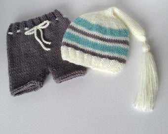 Newborn Photo Prop/ Newborn Boy Photo Prop/ Newborn Prop Hat/ Newborn Prop Pants/ Photography Prop/ Teal Newborn Outfit/ Gray Newborn Outfit