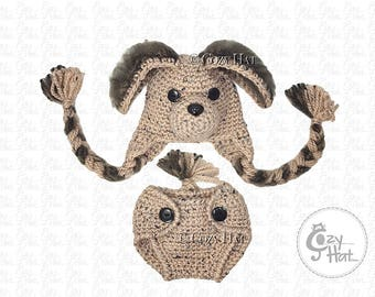 READY TO SHIP! Puppy Hat & Diaper Cover Baby Set. Newborn Size 0 to 3 months.