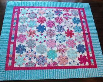 Patchwork Quilt, Lap Quilt Twin Blanket, Sofa Coverlet, Bedspread, Pink Blue Dorm Room Decor