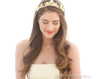 Gold Leaf and Pearl Wedding Crown Laurel Tiara of Metal Leaves and Pearls Bridal Headpiece Gold Wedding Headband Rustic Gold Tiara