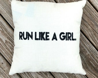 Runner's Run Like A Girl Accent Pillow Cover 16x16in
