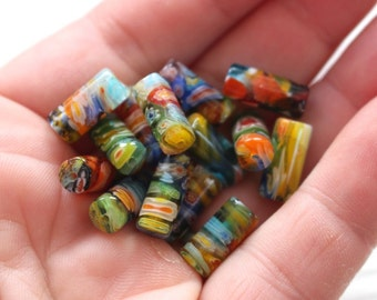 Multi coloured millefiori tube beads