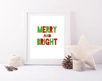 Merry and Bright Wall Art, Green and Red Blackout Font, Christmas/Holiday Print, Christmas Printable, Christmas Decor, Gray Frames Holiday