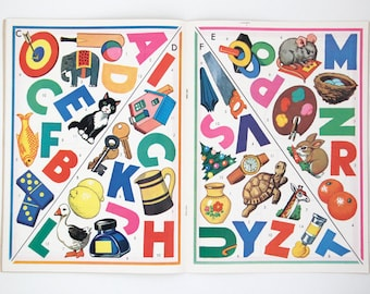 Vintage push-out, stick and colour kids craft book 'Play and Learn', 1960s